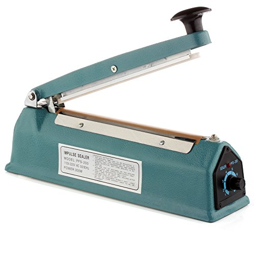 Flexzion 8-Inch/200mm Impulse Sealer with Replacement Element Grip and Teflon