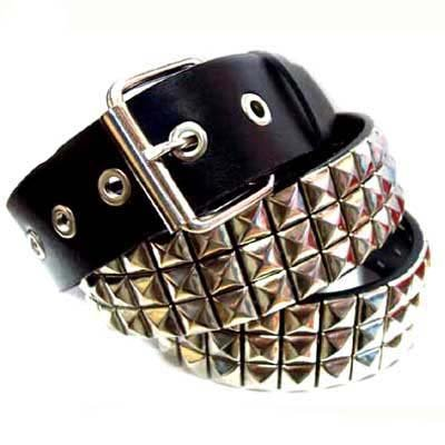 SILVER STUD SPIKE BLACK LEATHER 3ROW PYRAMID BELT LARGE - Buy SILVER STUD SPIKE BLACK LEATHER 3ROW PYRAMID BELT LARGE - Purchase SILVER STUD SPIKE BLACK LEATHER 3ROW PYRAMID BELT LARGE (Luxury Divas, Luxury Divas Belts, Luxury Divas Womens Belts, Apparel, Departments, Accessories, Women's Accessories, Belts, Womens Belts)