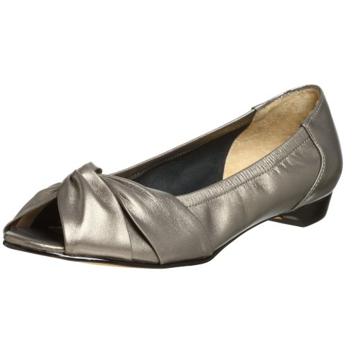 Ros Hommerson Women's Hardrock Open Toed Dress Flat,Pewter Nappa,6.5 M US