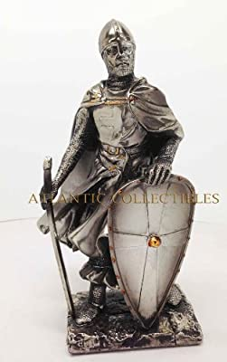 "Medieval Knight 7"" Tall Crusader Templar Guard Statue Figurine Suit Of Armor"