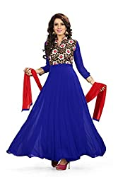 BanoRani Blue Color Faux Georgette & Floral Jacquard UnStitched Anarkali Dress Material