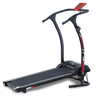 JK Fitness Jk2.0 Tapis Roulant Magnetico a Doppio Volano, Nero/Rosso