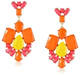 Opaque Rectangle Posted Multi-Bright Statement Earrings