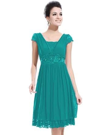 Ever Pretty Empire Waist Lace Cap Sleeve Sequins Cocktail Dress 02891, HE02891GR08, Green, 6US