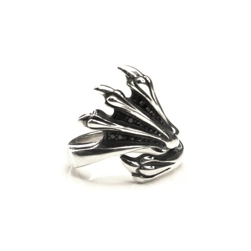 Silverkings 925 Sterling Silver Black Cubic Zirconia Magic Claw Ring