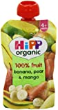 HiPP Organic From 4 Months Banana Pear and Mango Fruit Pouch 100 g (Pack of 2, Total 10 Pouches)