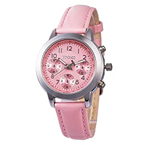 TIME100 Ladies' Fashion Multicolor Multifunction Pink Genuine Leather Waterproof Quartz Watch #W70073L.04A