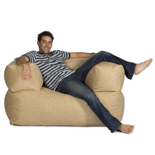 BaZi ® Armchair Sofa Bean Bag in WHEAT Barkweave Fabric