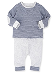2 Piece Pure Cotton Striped T-Shirt & Joggers Outfit
