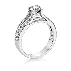 Certified, Round Cut, Solitaire Diamond Ring in 18K Gold / White (1 ct, I Color, VS2 Clarity)