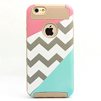 iphone 6 case,UUlike[2in1] Heavy Duty Hybrid Hard Case for Apple Iphone 6, 6s, 6g, 6th Generation¡ª¡ªPowder Blue Mint Teal and Coral Pink Split Chevron Design Cover by UUlike