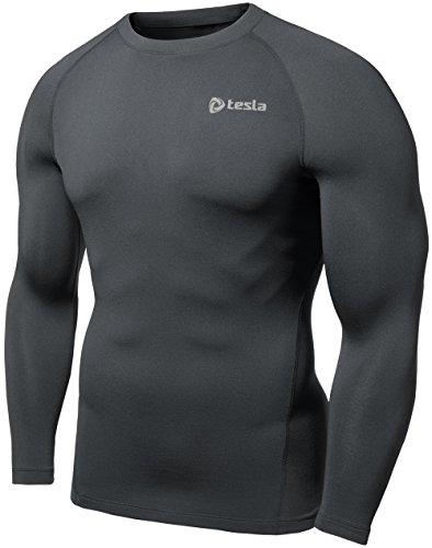 TM-R34-DG_Small j_M Tesla Men's Thermal Fleece Coldgear Compression Baselayer Long Sleeve T Shirts R34 (Thermal Shirts Long Sleeve Women compare prices)