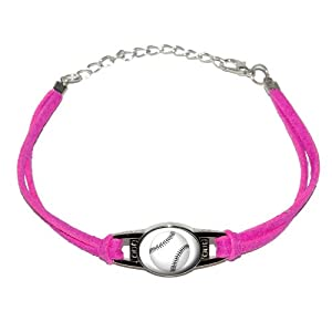 Baseball - Novelty Suede Leather Metal Bracelet - Pink by Graphics and More
