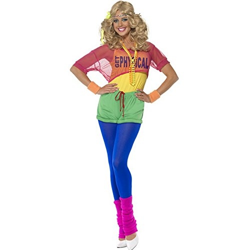 Ladies 80s Let's Get Physical Costume. Sizes 8 to 18