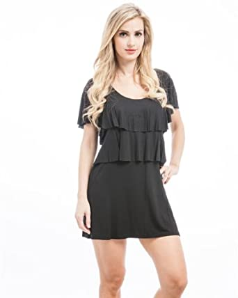 G2 Chic Women's Solid Tier Jersey Dress(DRS-CAS,BLK-XS)