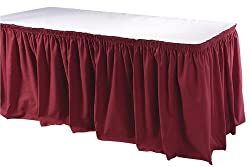 Phoenix 21-1/2 Feet Table Skirting, Shirred, Burgundy