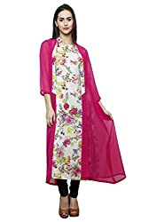 Ivory Printed Rayon Tunic with Magenta Georgette Cape
