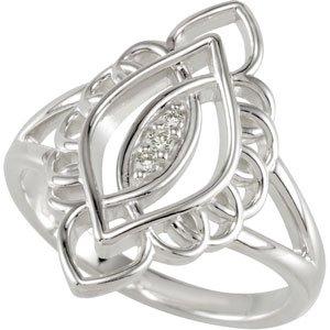 Genuine IceCarats Designer Jewelry Gift Sterling Silver Diamond Ring. Diamond Ring In Sterling Silver Size 7