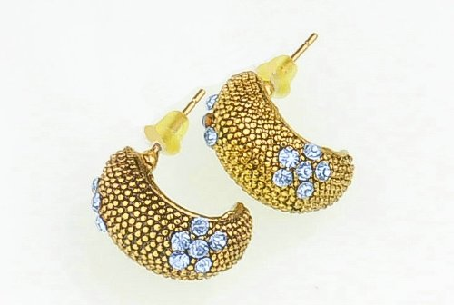 Jupiter Snail with Blue Gems Stud Earrings