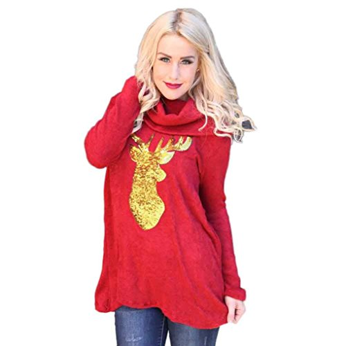 Bestpriceam Women Casual Blouse Fashion Christmas Deer Printed Splicing Tops Shirt
