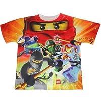 Lego Ninjago Boys 4-7 Character Shirt All Over Design (Orange Red, 4)