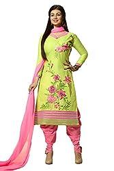 Meghali Women's Cotton Unstitched Salwar Suit (MGBD14D06_Green Pink _Free Size)