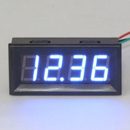 Riorand 2-Wire Digital Car Voltmeter Panel Dc 0-30V 12/24V Voltage Tester Blue Led Display