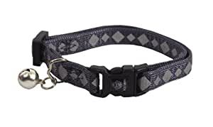 Hamilton Adjustable Reflective Break-A-Way Cat Safety Collar, 3/8-Inch by 8-Inch to 12-Inch, Graphite