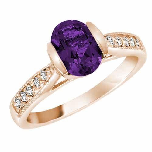 Ryan Jonathan Amethyst and Diamond Ring in 14K White Gold