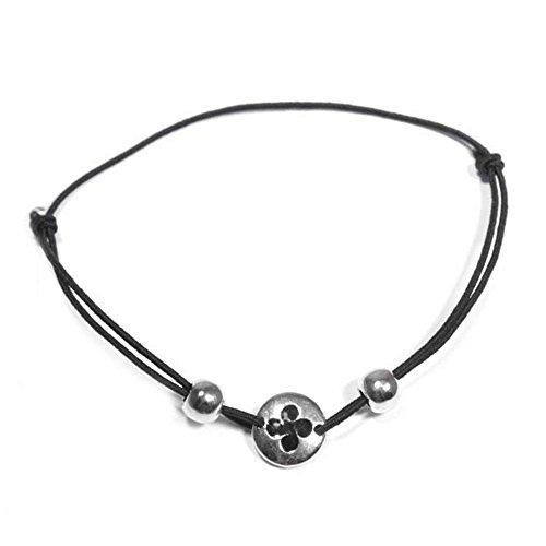 MARY-JANE-Bracelet-fantaisie-Femme-Long1019cm-Larg9mm-Email-Mtal-argent-Textile-Basque-Cordon-Croix-Elastique-Rond
