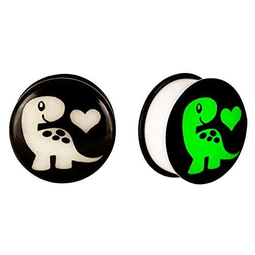 GLOW-IN-THE-DARK DINOSAUR LOVE ACRYLIC EAR PLUG (Cool Ear Gauges compare prices)