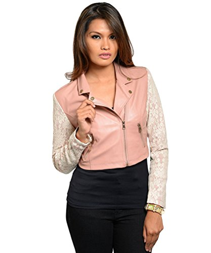 Simplicity Faux Leather Moto Jacket W/ Front Zipper And Lace Sleeves, Pink, M