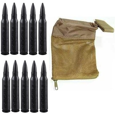 Magpul 215 Black 5.56 Pack Of 10 Dummy Ammo + Ultimate Arms Gear Tactical Fde Flat Dark Earth Tan Deluxe Mesh Ar15 Ar-15 .223 5.56 Rifle Brass Shell Bullet Catcher Bag