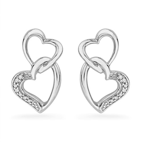 Sterling Silver Round Diamond Double Heart Earring (0.06 CTTW)