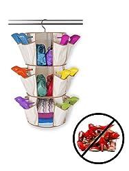 Evelots 3Tier Carousel Shoe Rack 360 Rotating Hanging Hand Bag Cloth Storage Organiser For Home