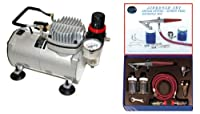 PAASCHE H AIRBRUSH SET w/Quiet AIR BRUSH COMPRESSOR from Paasche