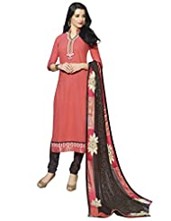 Surat Tex Red Color Embroidered Pure Cotton Semi-Stitched Salwar Suit-D439DL3261KE