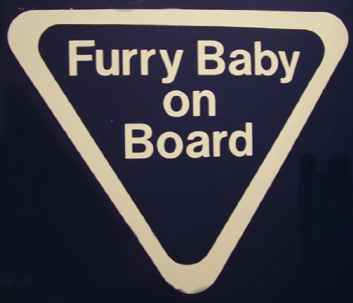 Furry Baby on Board White Car Decal