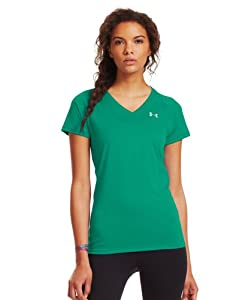 Under Armour Women's UA Tech™ Short Sleeve V-Neck Large EMERALD LAKE