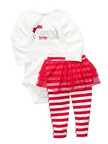 Carters Infant Girls Red Santa's Little Helper Outfit Tutu Pants & Creeper Shirt