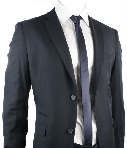 Mens Suit Navy Blue 2 Button Regular Fit Office Party Wedding Suit UK Stock