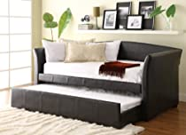 Hot Sale Homelegance Meyer 4956PU* Bi-Cast Vinyl Daybed with Trundle, Dark Brown