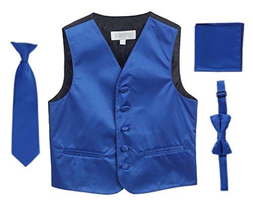 4 pc set big boys tuxedo vest bowtie tie pocket square