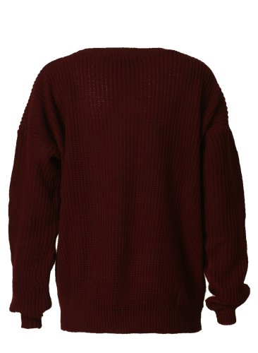 Forever Womens Long Sleeves Knitted Baggy Style Oversize Plain Jumper Sweater (One Size = (8-14), Wi..