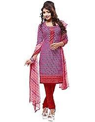 SareeShop Women's Georgette Semi-Stitched Dress Material (B2B3003_Pink_Free Size)