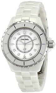 Chanel J12 White Ceramic 33 mm. MOP and Diamond Dial Quartz Watch - H2422