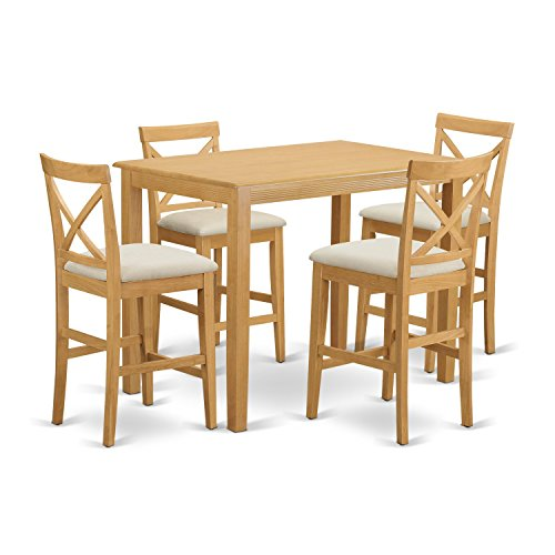East West Furniture YAPB5-OAK-C 5 Piece High Top Table And