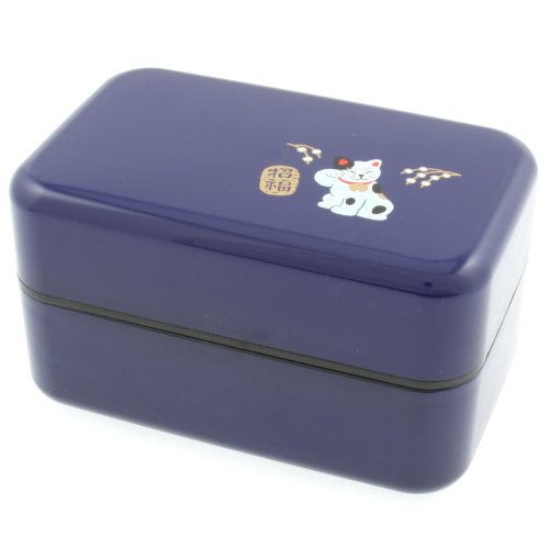 Kotobuki 2-Tiered Bento Box, Blue Maneki Neko Lucky Cat