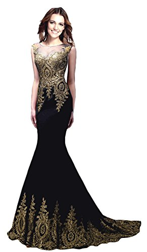 Sleeveless Prom Dresses Appliques Beaded Lace Beaded Long Gown Black US 12