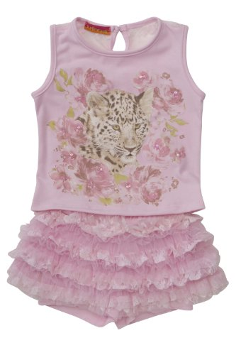 Kate Mack Girl's 2-6X On the Wild Side Tee & Skort in Pink